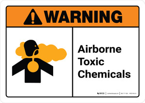Warning: Airborne Toxic Chemicals with Icon ANSI Landscape - Wall Sign