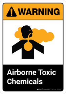 Warning: Airborne Toxic Chemicals with Icon ANSI Portrait - Wall Sign