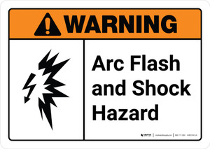 Warning: Arc Flash and Shock Hazard with Icon ANSI Landscape - Wall Sign