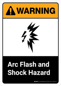 Warning: Arc Flash and Shock Hazard with Icon ANSI Portrait - Wall Sign