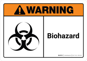 Warning: Biohazard with Icon ANSI Landscape - Wall Sign