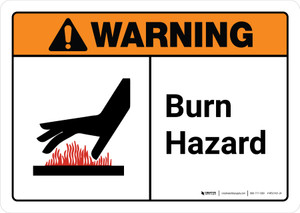 Warning: Burn Hazard with Icon ANSI Landscape - Wall Sign