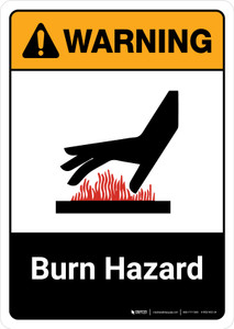 Warning: Burn Hazard with Icon ANSI Portrait - Wall Sign