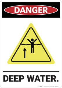 Danger: Deep Water Ansi With Graphic - Wall Sign