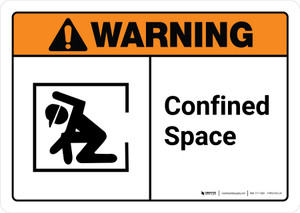 Warning: Confined Space with Icon ANSI Landscape - Wall Sign