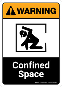 Warning: Confined Space with Icon ANSI Portrait - Wall Sign
