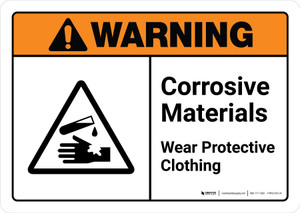 Warning: Corrosive Materials Wear Protective Clothing with Icon ANSI Landscape - Wall Sign