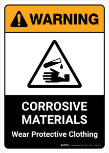 Warning: Corrosive Materials Wear Protective Clothing with Icon ANSI Portrait - Wall Sign