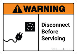 Warning: Disconnect Before Servicing with Icon ANSI Landscape - Wall Sign