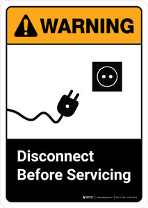 Warning: Disconnect Before Servicing with Icon ANSI Portrait - Wall Sign