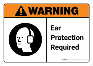 Warning: Ear Protection Required with Icon ANSI Landscape - Wall Sign