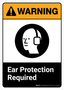 Warning: Ear Protection Required with Icon ANSI Portrait - Wall Sign