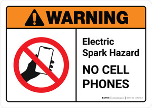 Warning: Electric Spark Hazard No Cell Phones with Icon ANSI Landscape - Wall Sign