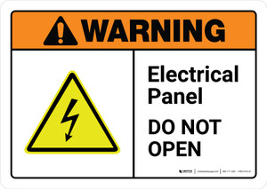 Warning: Electrical Panel Do Not Open with Icon ANSI Landscape - Wall Sign