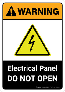 Warning: Electrical Panel Do Not Open with Icon ANSI Portrait - Wall Sign
