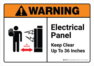 Warning: Electrical Panel Keep Clear 36 Inches with Icon ANSI Landscape - Wall Sign