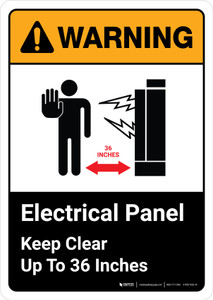 Warning: Electrical Panel Keep Clear 36 Inches with Icon ANSI Portrait - Wall Sign