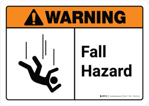 Warning: Fall Hazard with Icon ANSI Landscape - Wall Sign