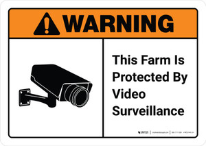 Warning: This Farm Is Protected By Video Surveillance with Icon ANSI Landscape - Wall Sign