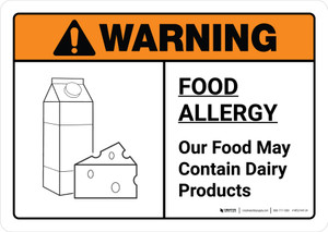 Warning: Food Allergy Food May Contain Dairy with Icon ANSI Landscape - Wall Sign