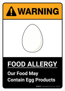 Warning: Food Allergy Food May Contain Egg with Icon ANSI Portrait - Wall Sign