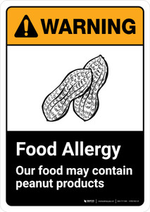 Warning: Food Allergy Food May Contain Peanuts with Icon ANSI Portrait - Wall Sign