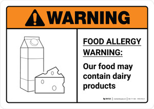 Warning: Food Allergy Warning - Our Food May Contain Dairy with Icon ANSI Landscape - Wall Sign