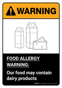 Warning: Food Allergy Warning - Our Food May Contain Dairy with Icon ANSI Portrait - Wall Sign