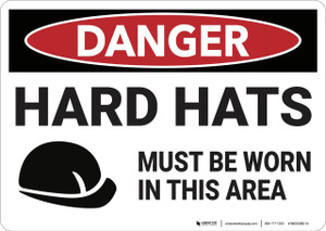 Danger: Hard Hats Must Be Worn - Wall Sign
