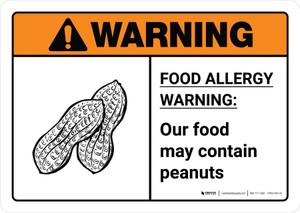 Warning: Food Allergy Warning - Our Food May Contain Peanuts with Icon ANSI Landscape - Wall Sign