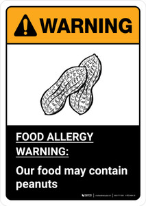 Warning: Food Allergy Warning - Our Food May Contain Peanuts with Icon ANSI Portrait - Wall Sign