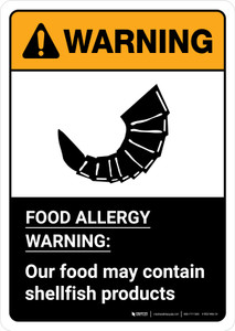 Warning: Food Allergy Warning - Our Food May Contain Shellfish with Icon ANSI Portrait - Wall Sign