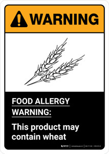 Warning: Food Allergy Warning - This Product May Contain Wheat with Icon ANSI Portrait - Wall Sign