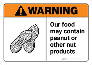 Warning: Food May Contain Peanut Or Nut Products with Icon ANSI Landscape - Wall Sign