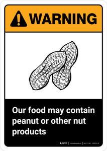 Warning: Food May Contain Peanut Or Nut Products with Icon ANSI Portrait - Wall Sign