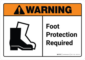 Warning: Foot Protection Required with Icon ANSI Landscape - Wall Sign