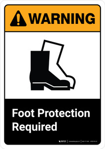 Warning: Foot Protection Required with Icon ANSI Portrait - Wall Sign