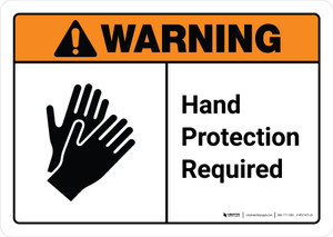 Warning: Hand Protection Required with Icon ANSI Landscape - Wall Sign