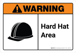 Warning: Hard Hat Area with Icon ANSI Landscape - Wall Sign