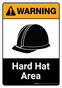 Warning: Hard Hat Area with Icon ANSI Portrait - Wall Sign