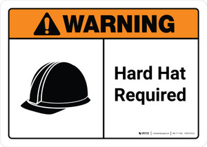Warning: Hard Hat Required with Icon ANSI Landscape - Wall Sign