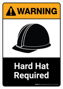 Warning: Hard Hat Required with Icon ANSI Portrait - Wall Sign