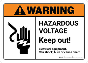 Warning: Hazardous Voltage Keep Out with Icon ANSI Landscape - Wall Sign