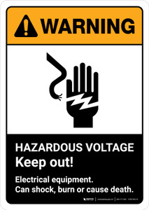 Warning: Hazardous Voltage Keep Out with Icon ANSI Portrait - Wall Sign