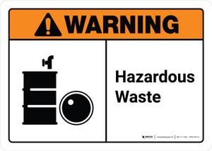 Warning: Hazardous Waste with Icon ANSI Landscape - Wall Sign