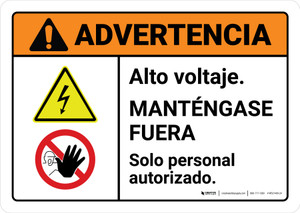 Warning: High Voltage Keep Away Spanish with Icons ANSI Landscape - Wall Sign