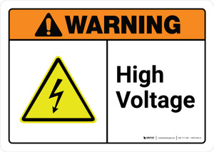 Warning: High Voltage with Icon ANSI Landscape - Wall Sign