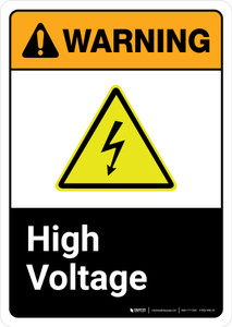 Warning: High Voltage with Icon ANSI Portrait - Wall Sign
