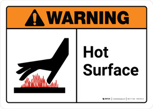 Warning: Hot Surface with Icon ANSI Landscape - Wall Sign