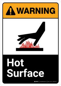 Warning: Hot Surface with Icon ANSI Portrait - Wall Sign